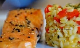 Filet de saumon mariné et son risotto au poivron rouge