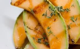 Melon grillé au miel et au rhum