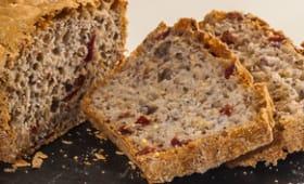 Pain rapide aux 4 farines de céréales et 5 graines et aux cranberries