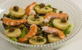 Salade de pomme de terre aux haricots verts et crevettes