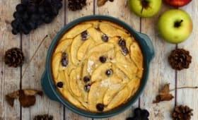 Clafoutis aux pommes et raisins