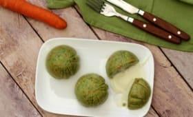 Moelleux aux brocolis et carotte, coeur coulant à la cancoillotte