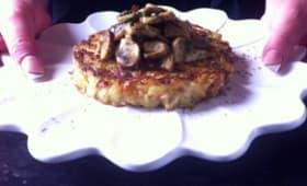 Rösti galette croustillante aux champignons
