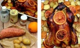Poulet au four au miel et orange, duo de pommes de terre rôties