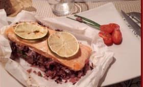 Papillote de saumon citronné aux deux riz
