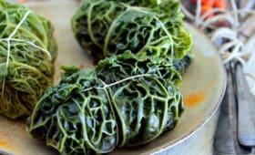 Feuilles de chou vert frisé farci à la viande et cranberry