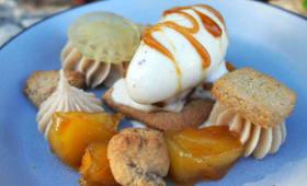 Dessert glacé pomme, vanille et marron