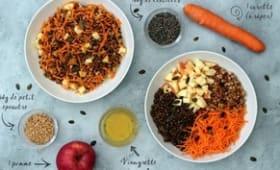 Buddha bowl d'automne: lentilles, petit-épeautre, carotte et pomme
