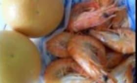 Crevettes aux Pamplemousses en Salade