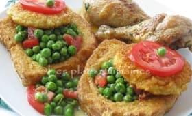 Sauté de cuisses de poulet et pain perdu aux petits pois