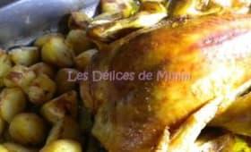 Poulet rôti au citron et au romarin, pommes de terre rôties de Jamie Oliver