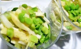 Salade allumettes : céleris, pomme, épinard et févettes