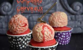 Cupcakes cerveaux en guimauve cerise et rhubarbe