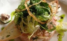 Salade russe, macédoine à la moscovite, crevettes