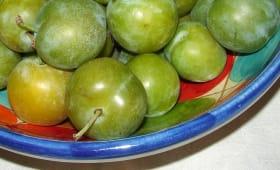 Reines-claudes dans un plat coloré