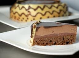 Entremet poire/chocolat, biscuit joconde