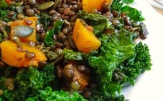 Poêlée de lentilles vertes, butternut et chou kale