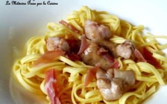Fettucini aux ris de veau, sauce caramel de champignons