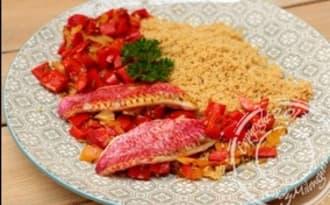 Rougets grillés et semoule épicée