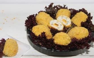 Croquettes de poulet sans friture, farcies au cheddar
