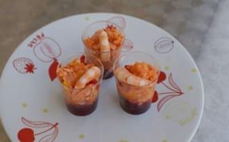 Verrines coulis de betterave avec son saumon fumé et crevette au thermomix facile et rapide