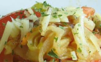 Salade de courgettes marinées au citron, à la feta et tomates séchées