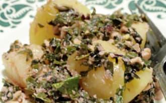 Condiment de feuilles de bettes, gingembre, coco, cajou et citron