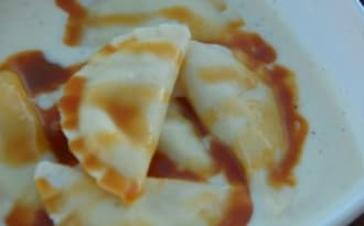 Raviolis aux pommes et caramel beurre salé
