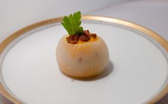 Mise en bouche d'oignon au butternut et Morteau