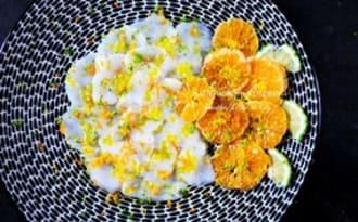 Carpaccio St-Jacques aux clémentines et perles de citron et poivre