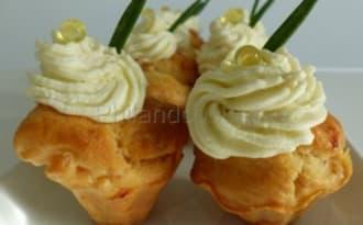 mini cupcakes au saumon fumé, topping au fromage frais