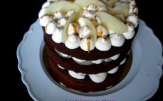 Naked cake chocolat, poires et caramel au beurre salé