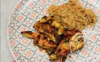 Aiguillettes de poulet au miel et au curry