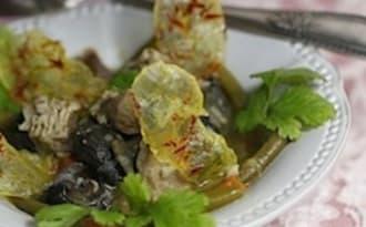 Escargots tête de veau et chips de pommes de terre au safran