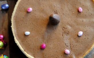 Tarte à la mousse au chocolat et poires