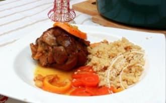 Souris d'agneau confites au miel à l'orange et romarin