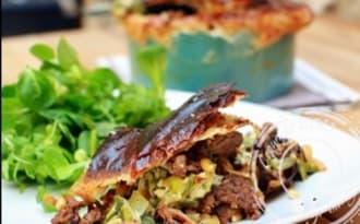 Pot Pie à la viande hachée, brousse et poireaux