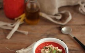 Gaspacho pastèque tomates et poivrons rouges grillés