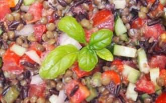 Salade de lentilles et de riz noir