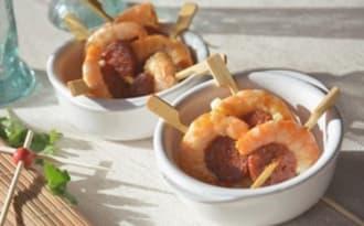 Brochettes crevettes et chorizo