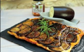 Tatin d'aubergine au miel et romarin