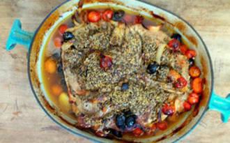 Rouelle de porc tomates, olives et herbes de Provence