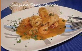 Roulades de filets de limande en sauce homardine.