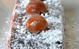 Bûche de Noël facile chocolat châtaignes