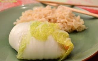 Chou chinois farci au cabillaud et crevettes