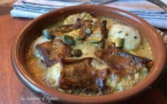 Cassolette de boudin blanc aux cèpes sauce foie gras