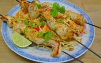 brochettes de poulet à la Thaï sauce arachide