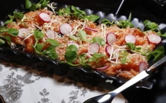 Carpaccio de saumon au soja et sésame