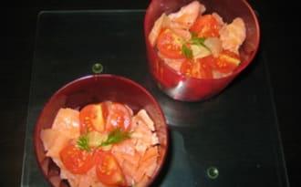 Verrines saumon fumé et petits légumes croquants à la coriandre fraîche et au citron vert