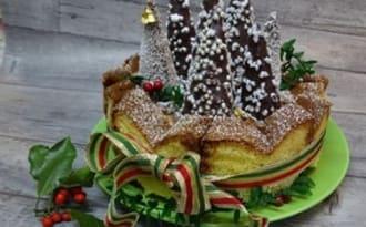 Gâteau de Noël charlotte Pandoro, tiramisu de châtaignes, marmelade de myrtilles et sa forêt de sapins